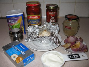 Ingredients for Cheesy Red Pepper Spread
