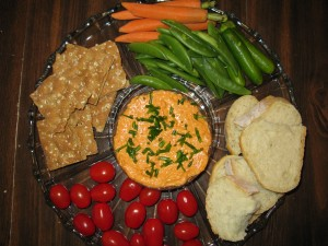 Cheesy Red Pepper Spread with Assorted Breads and Crudites