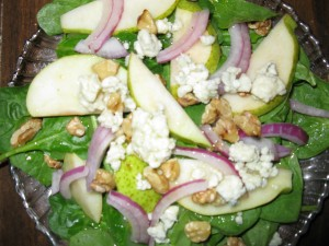 Pear, Bleu Cheese, and Walnut Salad with Grapefruit Vinaigrette